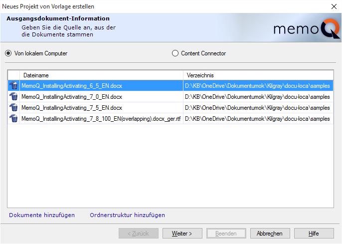 memoQ-Hilfe - Verwenden von Projektvorlagen für die Projekterstellung