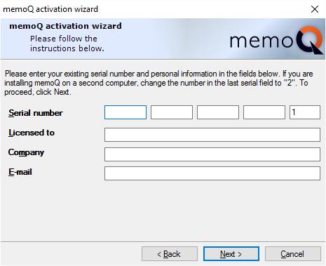 change serial number memoq activation wizard