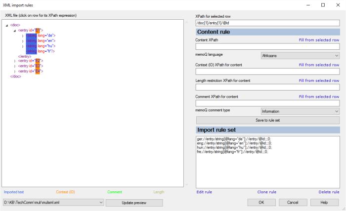 XML import rules