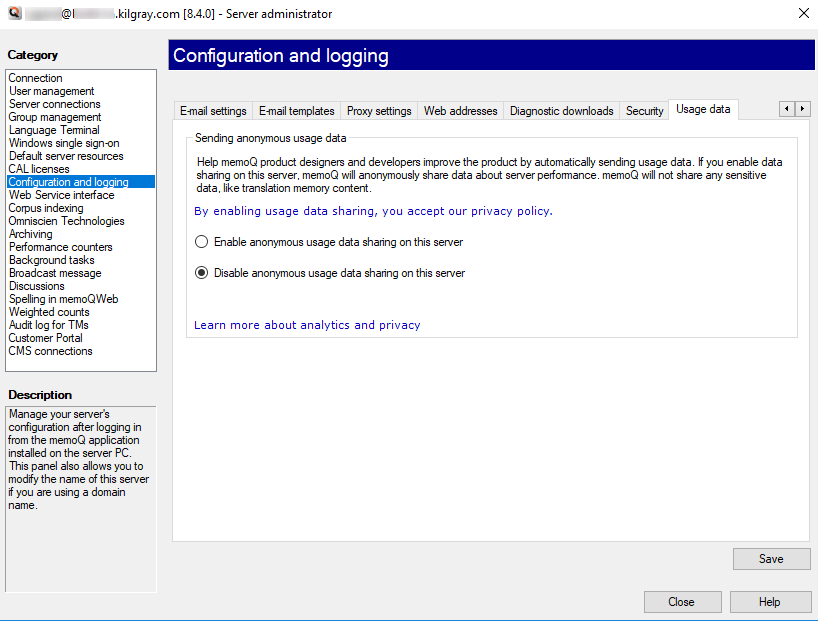 Server administrator: Configuration and logging