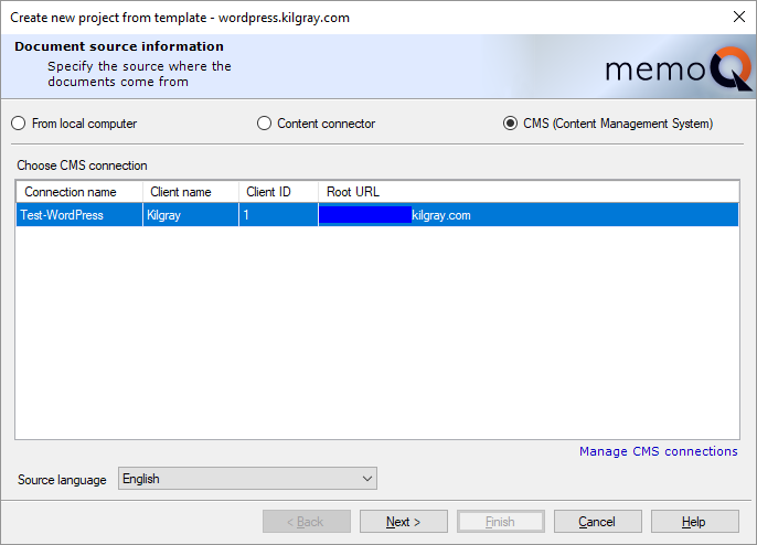 Create new online project from template if you do not see the connection you need click manage cms connections the server administrator opens with the cms connections page maxwellsz