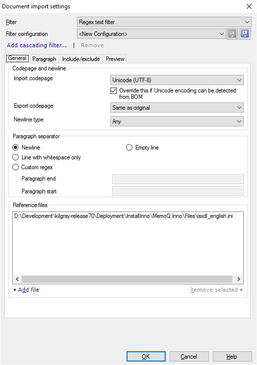 Regex text filter: Structured text files