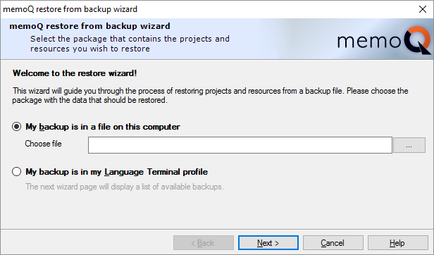 Restore projects from backup (wizard)