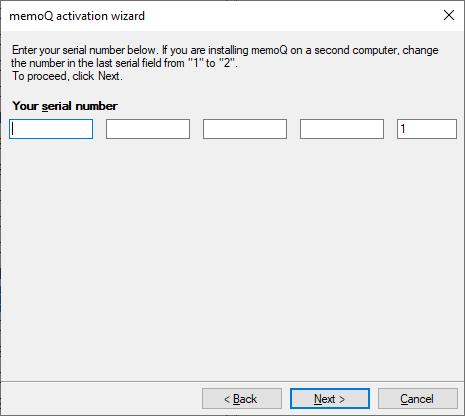 Change serial number (memoQ activation wizard)