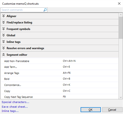 Customize memoQ shortcuts