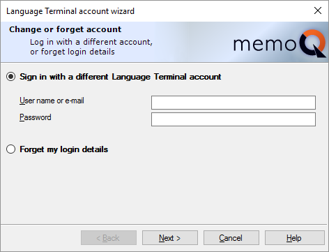 Language Terminal account wizard